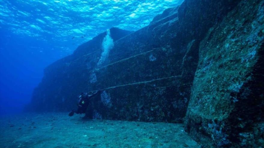 El templo sumergido a unos 300 metros de profundidad, descubierto en las costas mexicanas en el estado sureño de Tabasco.