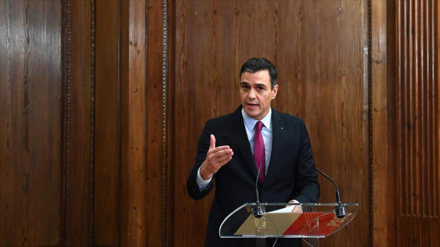 El presidente del Gobierno en funciones de España, Pedro Sánchez, ofrece un discurso en Madrid (capital), 30 de diciembre de 2019. (Foto:AFP)