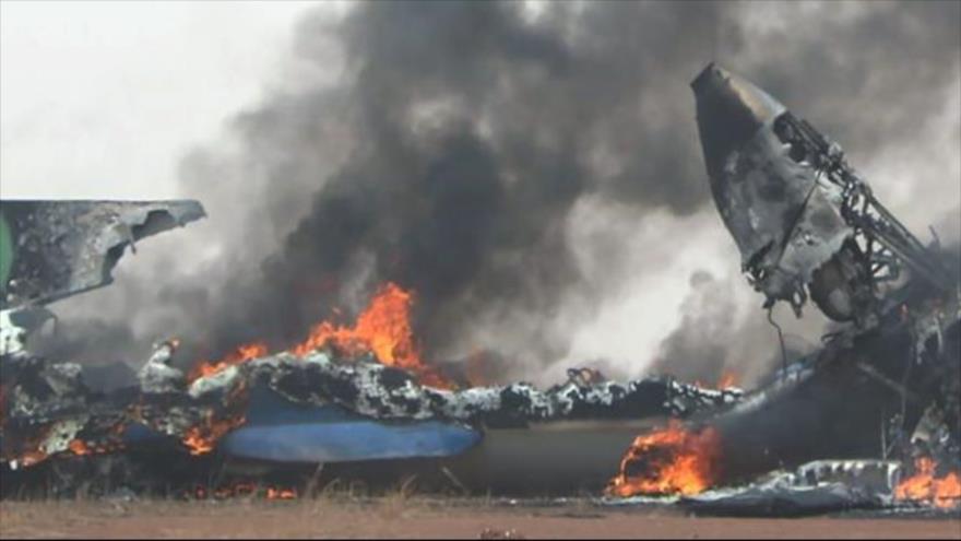 Accidente de un avión militar en Darfur, en el oeste de Sudán.