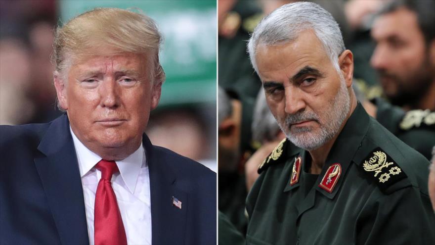 El presidente de EE.UU.,Donald Trump (izda.) y el teniente general iraní Qasem Soleimani.
