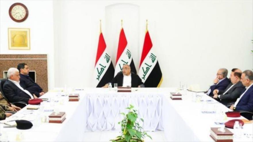 El Consejo de Seguridad Nacional de Irak, liderado por el comandante en jefe de las Fuerzas Armadas Adel Abdul-Mahdi (C), 3 de enero de 2020. (Foto: PRESSTV)