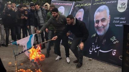 Miles de palestinos expresan su lealtad a Soleimani y sus ideales