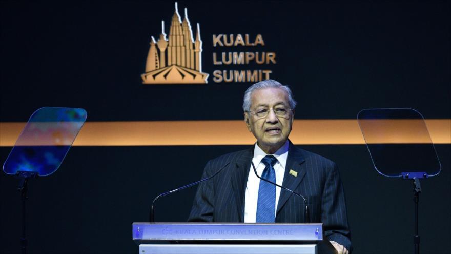El primer ministro de Malasia, Mahathir Mohamad, ofrece un discurso en Kuala Lumpur, capital de Malasia, 19 de diciembre de 2019. (Foto: AFP)
