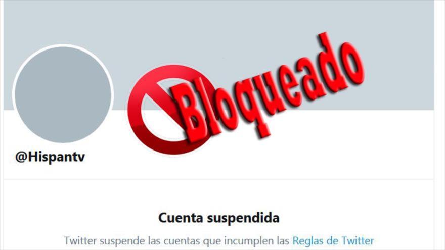 La cuenta de HispanTV suspendida por Twitter.
