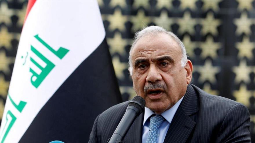 El premier en funciones de Irak, Adel Abdul-Mahdi, ofrece un discurso en Bagdad, capital del país.