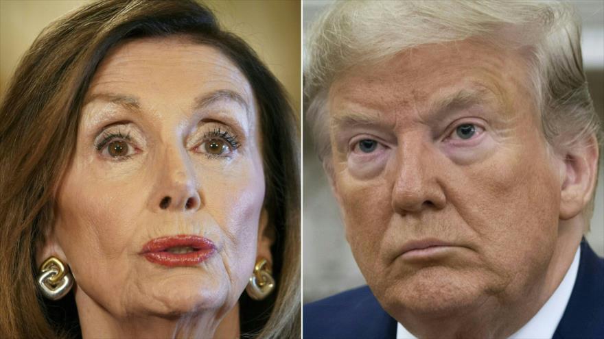 Líder demócrata de la Cámara Baja de EE.UU., Nancy Pelosi, 24 de septiembre de 2019, y presidente de EE.UU., Donald Trump, 20 de septiembre de 2019. (Foto: AFP)