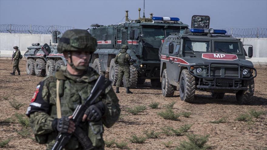 Efectivos de la Policía militar rusa en el norte de Siria.