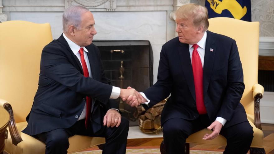 El presidente de EE.UU., Donald Trump, y el primer ministro israelí, Benjamín Netanyahu, en la Casa Blanca, 25 de marzo de 2019. (Foto: AFP)