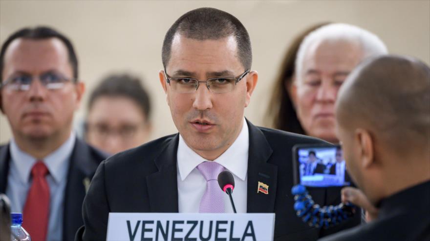 El canciller venezolano, Jorge Arreaza, en una sesión de la Organización de las Naciones Unidas, Ginebra, 12 de septiembre de 2019. (Foto: AFP)