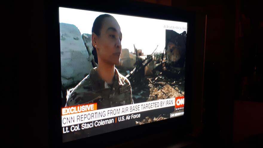 La vicecoronel estadounidense desplegada en la base militar de Ain Al-Asad Staci Coleman, en una entrevista con CNN, 11 de enero de 2020.