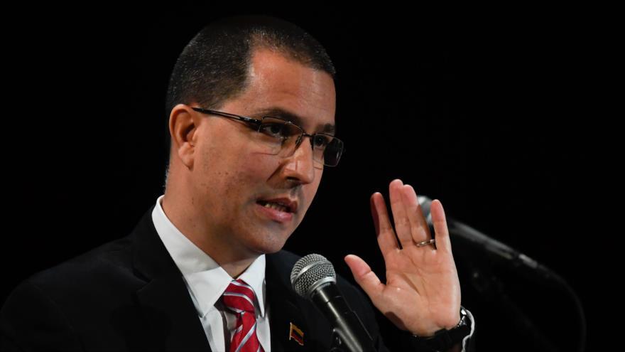 El canciller de Venezuela, Jorge Arreaza, en un acto público, Caracas, 20 de agosto de 2019. (Foto: AFP)
