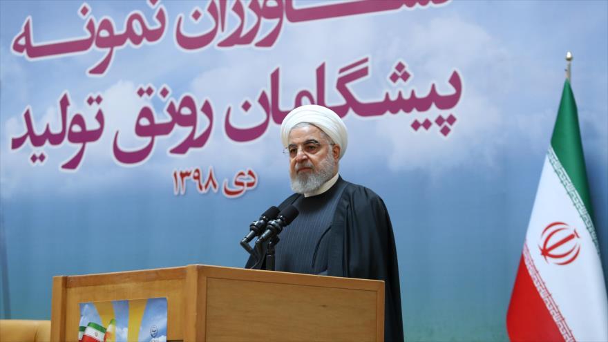 El presidente de Irán, Hasan Rohani, habla en un acto en Teherán (capital), 14 de enero de 2020. (Foto: President.ir)
