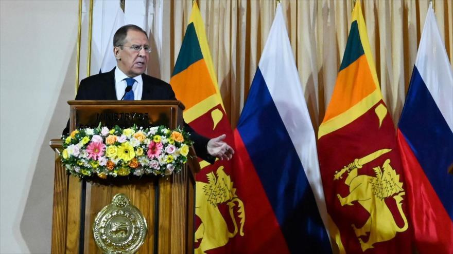 El canciller ruso, Serguéi Lavrov, en una rueda de prensa en Colombo, capital de Sri Lanka, 14 de enero de 2020. (Foto: AFP)