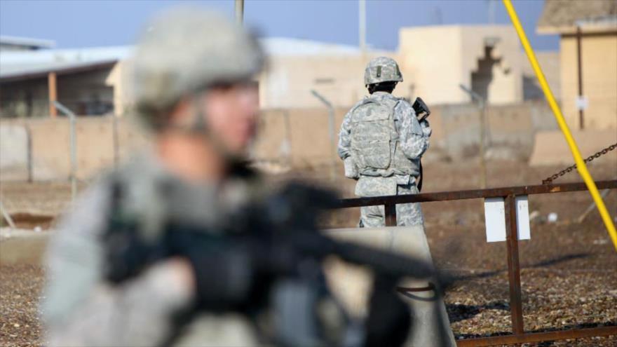 Soldados estadounidenses desplegados en la base militar Camp Taji cerca de Bagdad, capital iraquí.