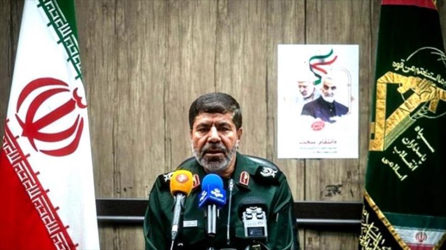 Portavoz del CGRI, el general Ramezan Sharif, en una conferencia de prensa tras el asesinato del general Soleimani, 4 de enero de 2020. (Foto: Tasnim)