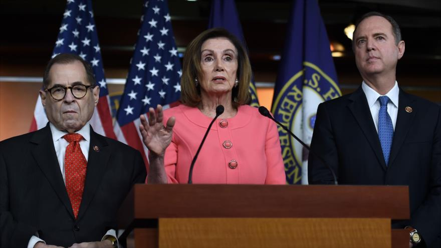 La Presidenta de la Cámara baja de EE.UU., Nancy Pelosi, durante una conferencia de prensa en el Capitolio, 15 de enero de 2020. (Foto: AFP)