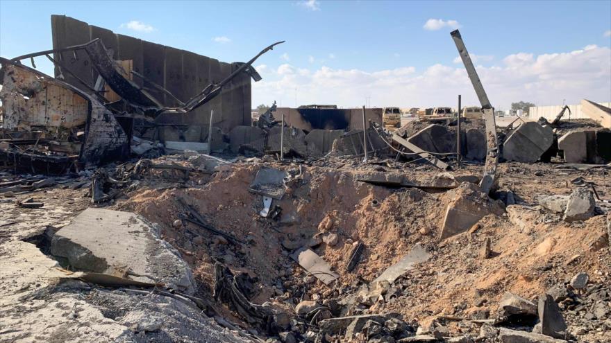 Parte de la base estadounidense Ain al-Asad, en Irak, destruida en un ataque misilístico de Irán, 13 de enero de 2019. (Foto: AFP)