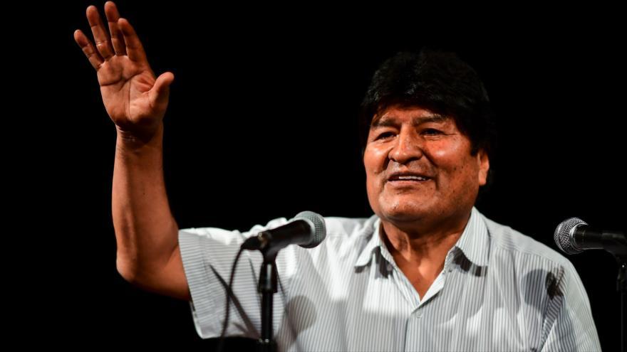 El presidente depuesto de Bolivia, Evo Morales, durante una rueda de prensa en Buenos Aires (capital argentina), 19 de diciembre de 2019. (Foto: AFP)
