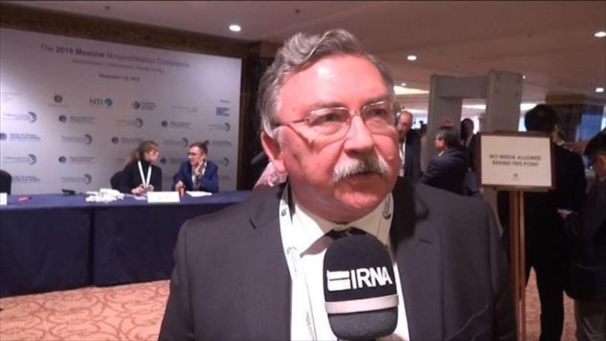 El embajador de Rusia ante las Organizaciones Internacionales en Viena, Mijaíl Uliánov, habla con la agencia de noticias iraní IRNA. (Foto: IRNA)