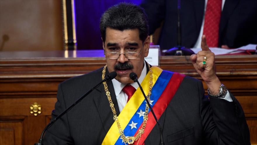 El presidente venezolano, Nicolás Maduro, habla en la Asamblea Nacional Constituyente (ANC) en Caracas, la capital, 14 de enero de 2020. (Foto: AFP)