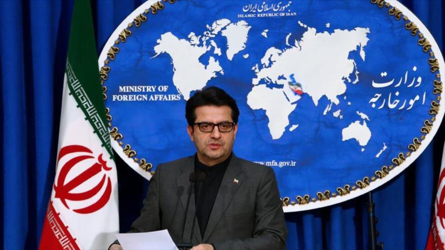 El portavoz de la Cancillería iraní, Seyed Abás Musavi, en una rueda de prensa celebrada en Teherán, capital persa.