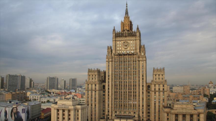 La sede de la Cancillería rusa en Moscú, la capital.