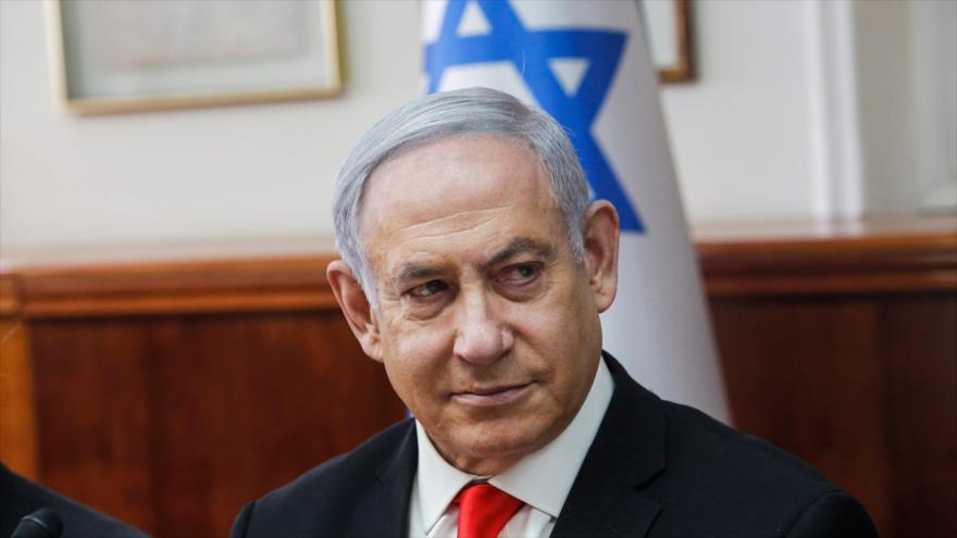 Premier israelí, Benjamín Netanyahu, atiende una reunión de gabinete, 19 de enero de 2020. (Foto: AFP)