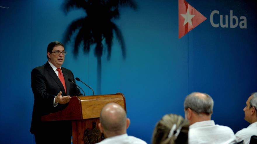 El jefe de la Diplomacia cubana, Bruno Rodríguez Parrilla, ofrece un discurso en la Habana (capital), 20 de septiembre de 2019. (Foto: AFP)