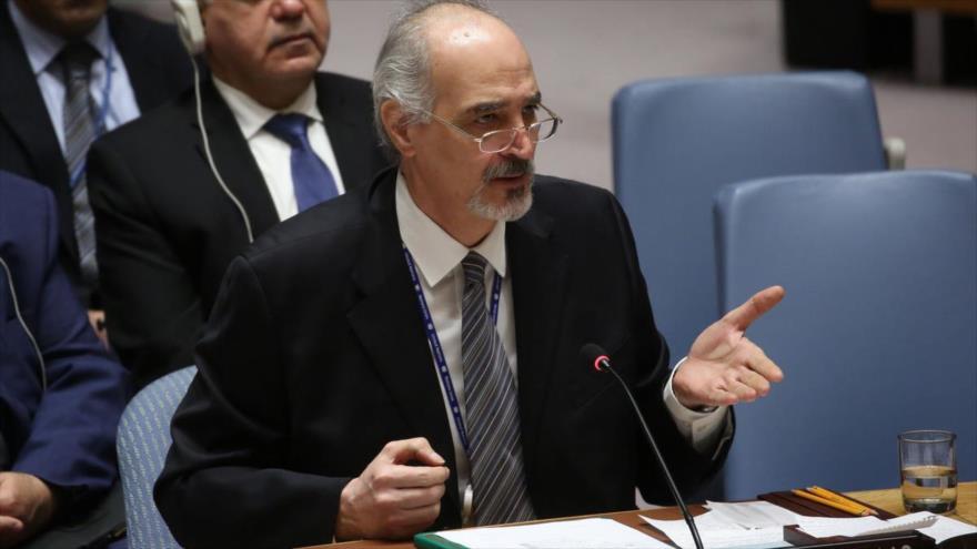 El representante sirio ante Naciones Unidas, Bashar al-Yafari, en una sesión del Consejo de Seguridad de la ONU.