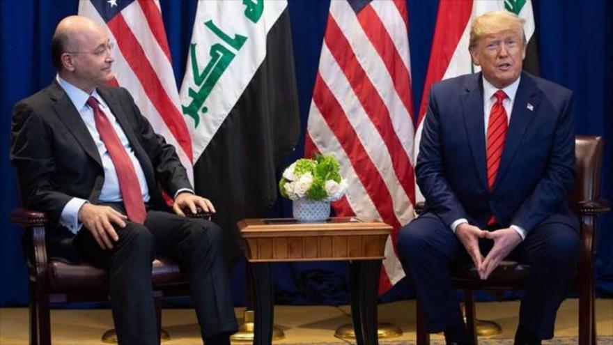 El presidente de Irak, Barham Salih (izq.), se reúne con su par estadounidense, Donald Trump, Nueva York.
