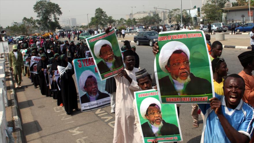 Protestan en Abuya (capital nigeriana) contra la detención del líder musulmán el sheij Ibrahim al-Zakzaky, 22 de enero de 2019. (Foto: AFP)