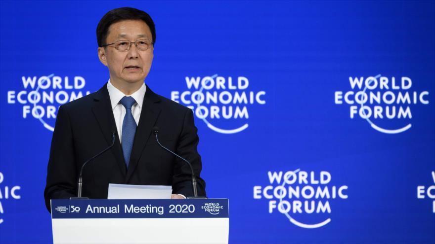 El vice primer ministro chino, Han Zheng, en el Foro Económico Mundial (WEF por su sigla en inglés), Davos, Suiza, 21 de enero de 2020. (Foto: AFP)