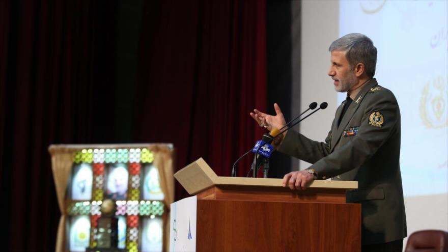 El ministro de Defensa de Irán, el general de brigada Amir Hatami, durante una conferencia en Teherán, la capital, 23 de enero de 2020. (Foto: IRNA)