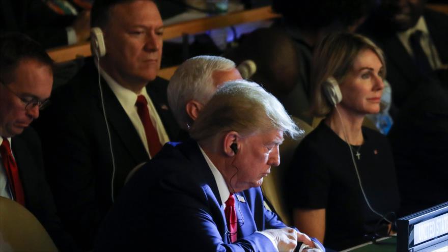 Donald Trump, presidente de EE.UU., y su secretario de Estado, Mike Pompeo, en una cumbre de la ONU en Nueva York, 23 de septiembre de 2019. (Foto: AFP)