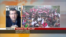 Adrian Zelaia y Eduardo Luque abordan gran marcha en Irak