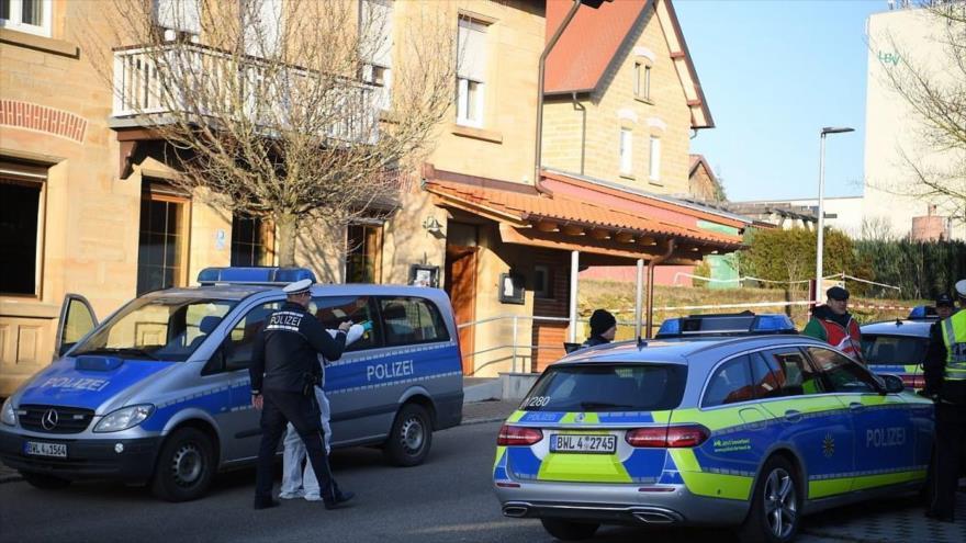 La Policía alemana rodea la zona después de un tiroteo en la ciudad de Rot am See, 24 de enero de 2020.