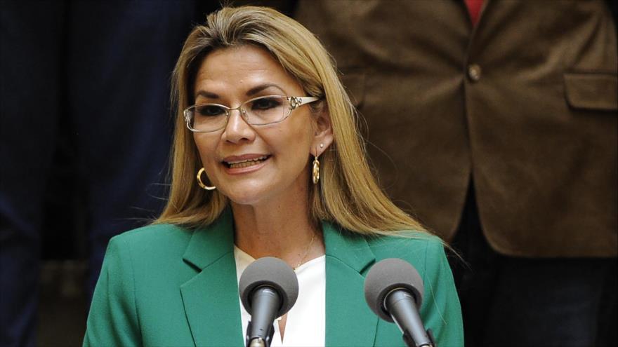 La presidenta autoproclamada de Bolivia, Jeanine Áñez, ofrece un discurso en La Paz, 22 de enero de 2020. (Foto: AFP)