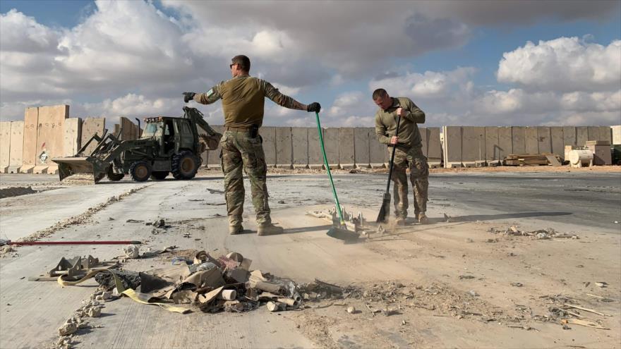 Base estadounidense Ain Al-Asad en Irak, tras el ataque con misiles de Irán, 13 de enero de 2020. (Foto: AFP)