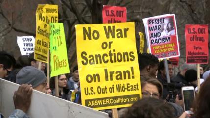 Marchan en EEUU en Día Mundial de Protesta contra guerra con Irán