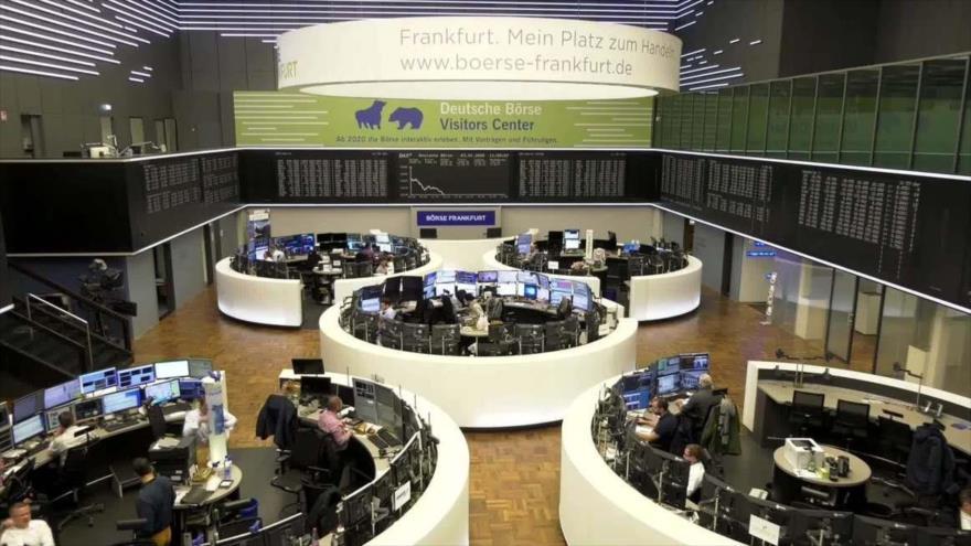 Índice de precios de acciones en la bolsa de Fráncfort, Alemania.