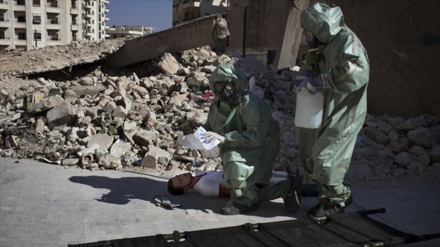 Simulan cómo responder a un ataque químico en la ciudad de Alepo, en el norte de Siria.