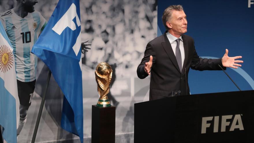 El expresidente argentino Mauricio Macri habla después de recibir un premio de la FIFA en Zúrich, Suiza, 30 de junio de 2019. (Foto: AFP)