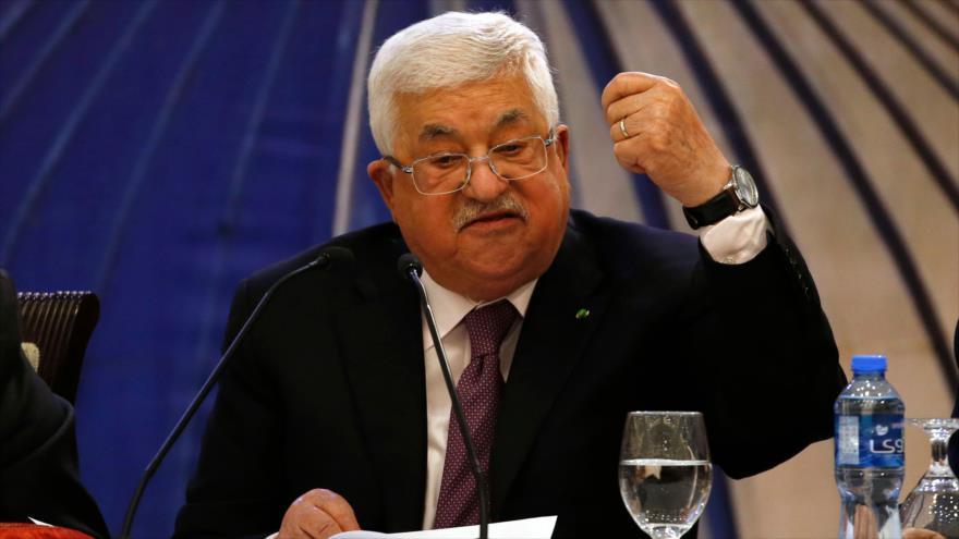 Presidente palestino, Mahmud Abás, habla con la prensa, Ramalá, 28 de enero de 2020. (Foto: AFP)