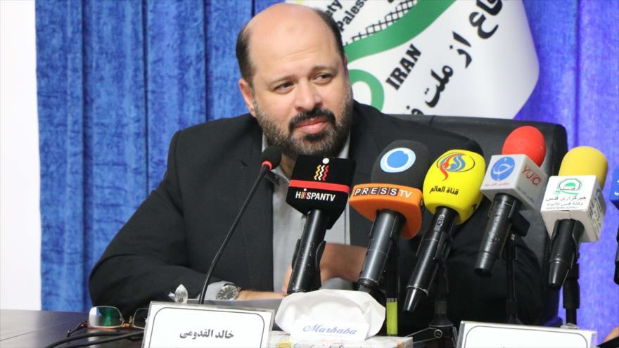 El representante del Movimiento de Resistencia Islámica Palestina (HAMAS) en Irán, Jaled al-Qodumi, en una conferencia de prensa en Teherán.