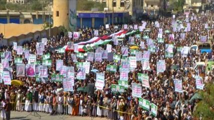 """Miles de yemeníes repudian """"malvado"""" plan de Trump para Palestina"""