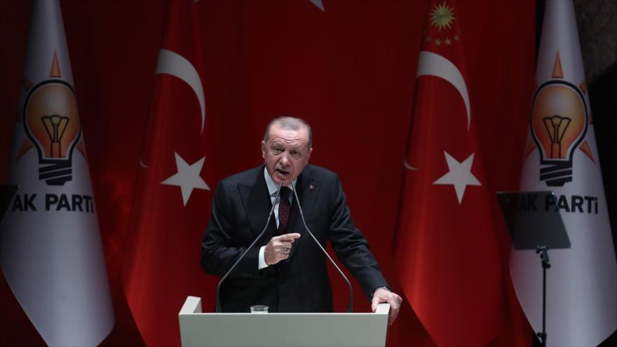 El presidente turco, Recep Tayyip Erdogan, ofrece un discurso en Ankara (capital), 31 de enero de 2020. (Foto: AFP)