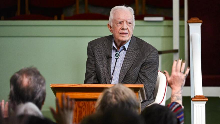 El expresidente de EE.UU., Jimmy Carter, en la iglesia Bautista Maranatha en estado de Georgia, 13 de abril de 2019.