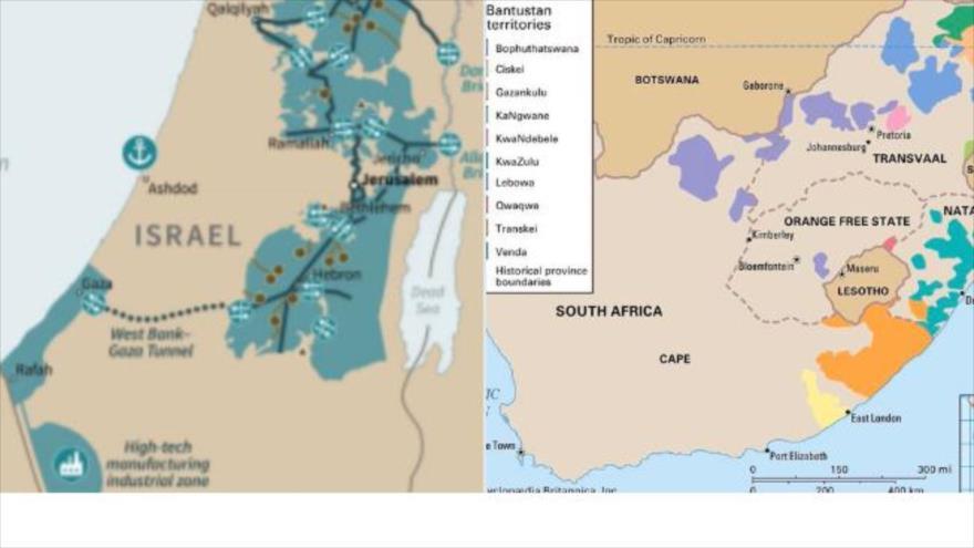 Un usuario de Twitter compara el mapa de los territorios ocupados palestinos con el mapa del apartheid en Sudáfrica.