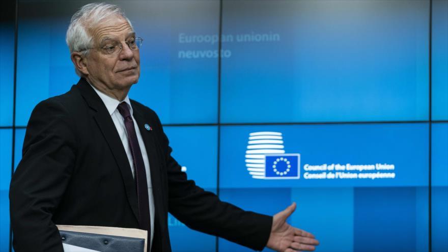 El jefe de la Diplomacia de la Unión Europea (UE), Josep Borrell, en una rueda de prensa en Bruselas, 20 de enero de 2020. (Foto: AFP)
