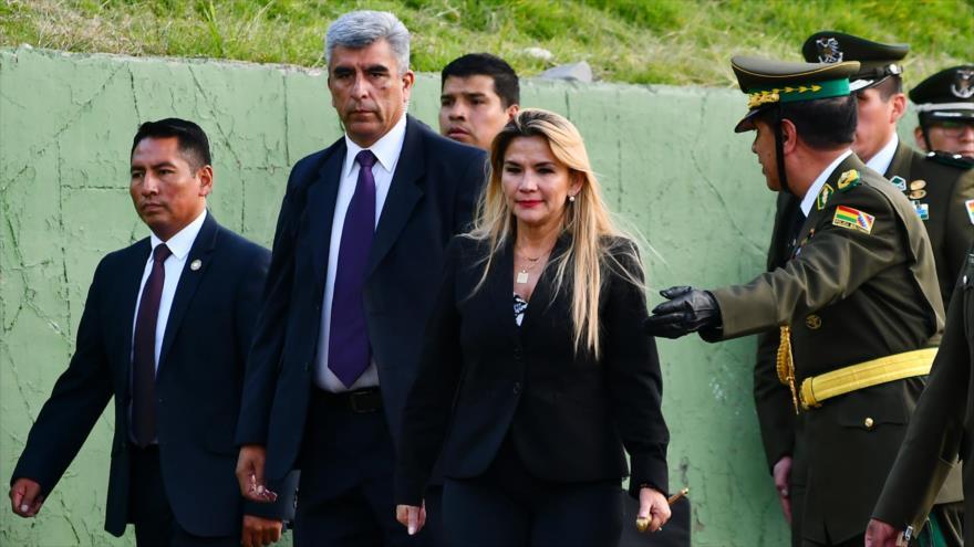 La presidenta de facto de Bolivia, Jeanine Áñez, en la Academia Nacional de Policías en La Paz, 5 de febrero de 2020. (Foto: ABI)